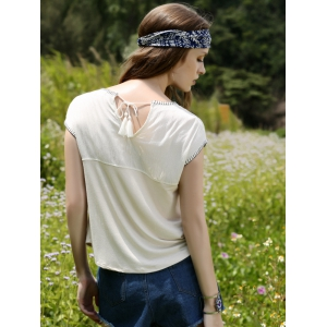 Casual Flower Embroidered Square Cut Women's T-Shirt -