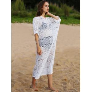 V-Neck Lace Maxi Beach Cover Up Dress - WHITE ONE SIZE(FIT SIZE XS TO M)