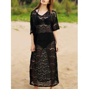 V-Neck Sheer Lace Maxi Beach Cover Up Dress