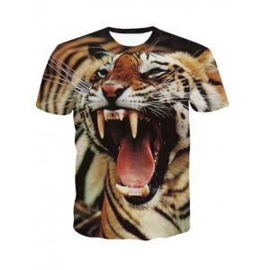 3D Round Neck Fierce Tiger Print Short Sleeve T-Shirt For Men - Colormix - M