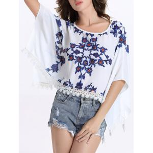 Chic Round Collar Batwing Sleeve Floral Print Fringed Women's Blouse -