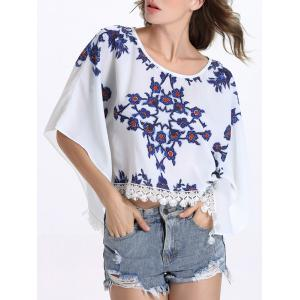 Chic Round Collar Batwing Sleeve Floral Print Fringed Women's Blouse - WHITE 2XL