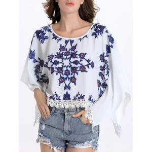Chic Round Collar Batwing Sleeve Floral Print Fringed Women's Blouse - White - M