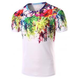 3D Abstract Printed Round Neck Short Sleeve T-Shirt For Men - Colormix - L