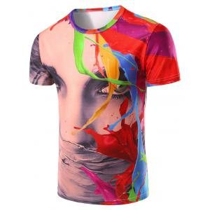 3D Color Printed Round Neck Short Sleeve T-Shirt For Men