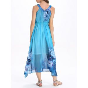 Bohemian V-Neck Sleeveless Animal Print Women's Dress - LAKE BLUE XL