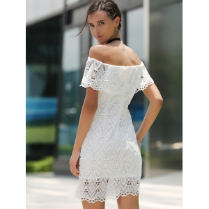 Off The Shoulder Short Wedding Lace Dress - WHITE XL