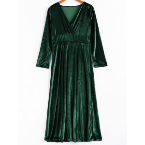 Elegant V-Neck Long Sleeve Maxi Velvet Dress For Women