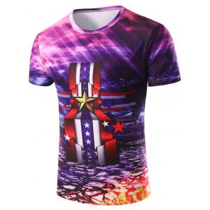 3D Stripe and Medal Printed Round Neck Short Sleeve T-Shirt For Men