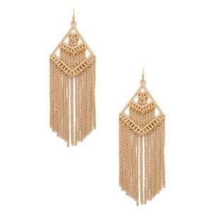 Pair of Vintage Geometric Chains Fringed Earrings -