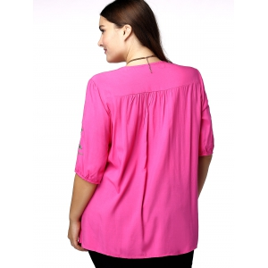 Plus Size Floral Mexican Embroidered Blouse - ROSE MADDER 3XL