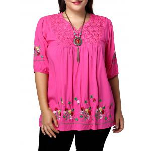 Plus Size Floral Mexican Embroidered Blouse - Rose Madder - Xl