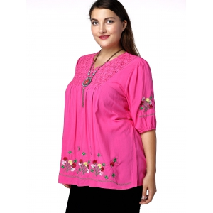 Plus Size Floral Mexican Embroidered Blouse -