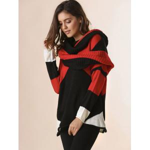 Trendy Style Scoop Collar Long Sleeve Color Block with Scarf Women's Sweater -