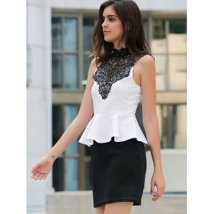 Sexy Stand Collar Lace Splicing Color Block Peplum Dress For Women -