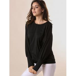 Stylish Scoop Neck Batwing Sleeves Solid Color T-Shirt For Women -