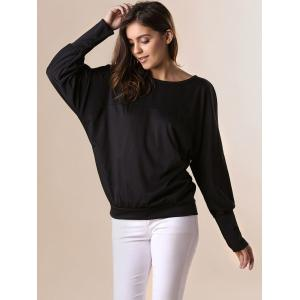 Stylish Scoop Neck Batwing Sleeves Solid Color T-Shirt For Women - BLACK 2XL