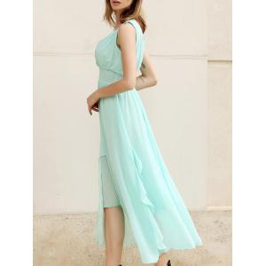 Charming Low-Cut Sleeveless Women's Chiffon Long Dresses - Sky Blue - L