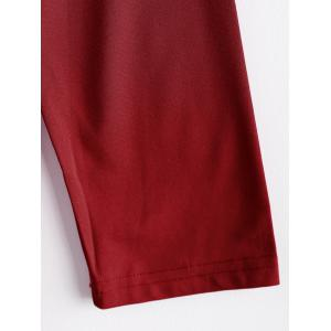 Women's Long Sleeve Slim Fit OL Bag Hip Dress Pure Color - RED XL