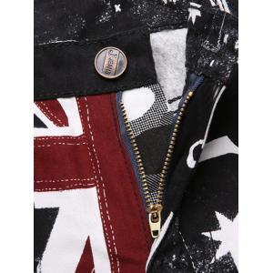 Fashion Straight Leg Union Jack Print Zipper Fly Shorts For Men -