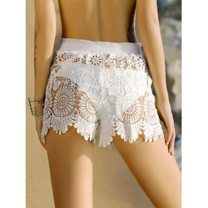 Crochet Scalloped Bathing Suit Shorts Cover-Up -