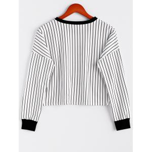 Stripe Letter Print Color Block Cotton Blend Casual Style Long Sleeves Women's Sweatshirt -