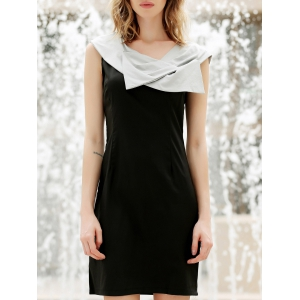 Noble Slim Fit Bow Collar Women's Formal Black Party Dress