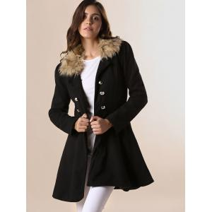 Women Woolen Winter Trench Double Button Coat - BLACK M