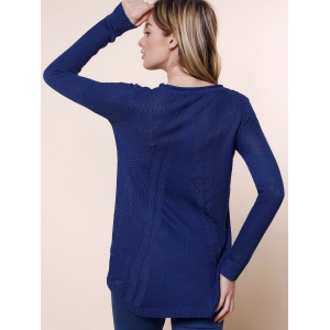 Mesdames lâche manches longues Pull Knit Cardigan Tops Pull - Bleu Foncé TAILLE MOYENNE