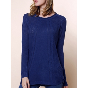 Ladies Loose Long Sleeve Knit Pullover Cardigan Tops Sweater - Deep Blue - One Size