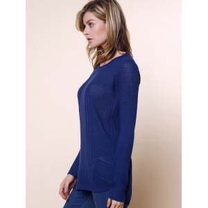Ladies Loose Long Sleeve Knit Pullover Cardigan Tops Sweater - DEEP BLUE ONE SIZE