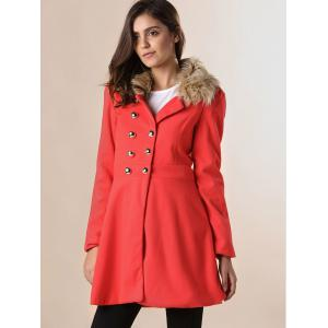 Women Woolen Winter Trench Double Button Coat - JACINTH M