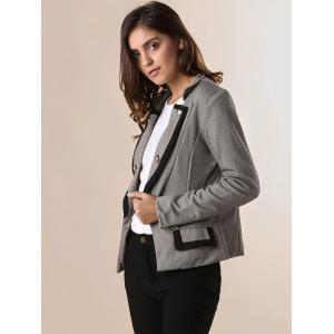 Ladylike OL Style Stand Collar Solid Color Double-breasted Long Sleeves Slimming Women's Blazer -