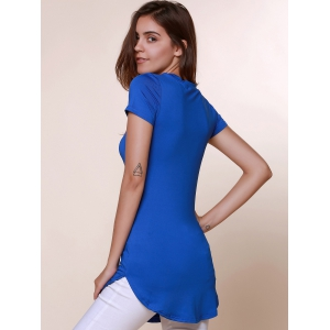 Brief Round Neck Short Sleeve Solid Color Asymmetrical Women's T-Shirt -