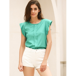 Candy Color Loose Leisure Women's Chiffon Short Tulip Sleeve Blouse Tops -