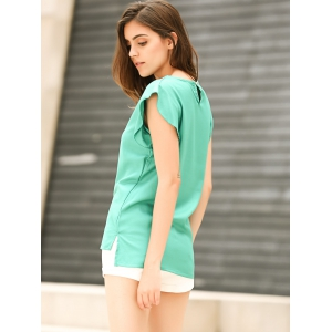 Candy Color Loose Leisure Women's Chiffon Short Tulip Sleeve Blouse Tops - GREEN M