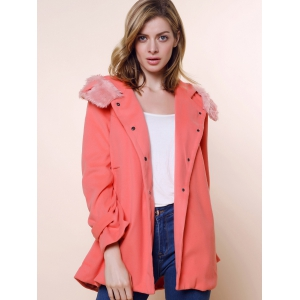 Solid Color Stunning Style Worsted Long Sleeves Bow Tie Women's Coat - PINK M