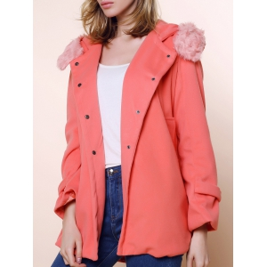 Solid Color Stunning Style Worsted Long Sleeves Bow Tie Women's Coat - Pink - M