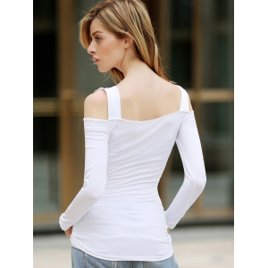 Solid Color Cut Out Polyester Long Sleeves Women's T-Shirt -