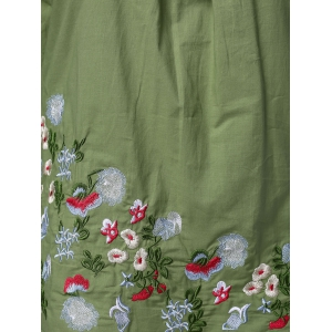 Ethnic Plus Size Stand Collar Floral Embroidered Women's Blouse - GREEN XL
