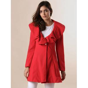 Long Sleeves Ruffles Lapel Beam Waist Long Sections Stylish Women's Trench Coat - RED M