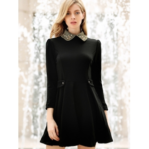 Collared Puff Long Sleeves Ruffles Casual Dress -