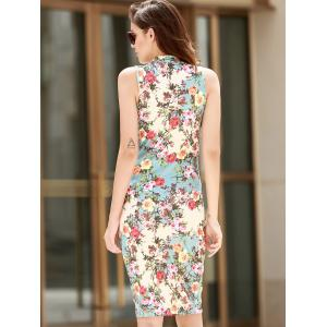 Vintage Stand-Up Collar Sleeveless Floral Print Women's Dress -