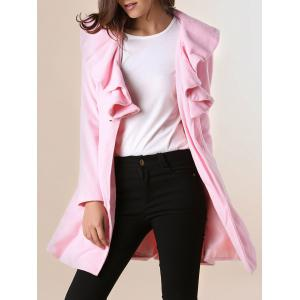 Long Sleeves Ruffles Lapel Beam Waist Long Sections Stylish Women's Trench Coat - Pink - Xl