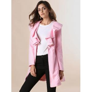 Long Sleeves Ruffles Lapel Beam Waist Long Sections Stylish Women's Trench Coat - PINK M