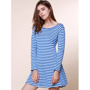 Stylish Scoop Neck Stripe Print Backless Long Sleeve Dress For Women - BLUE M