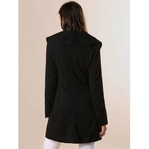 Long Sleeves Ruffles Lapel Beam Waist Long Sections Stylish Women's Trench Coat - BLACK XL