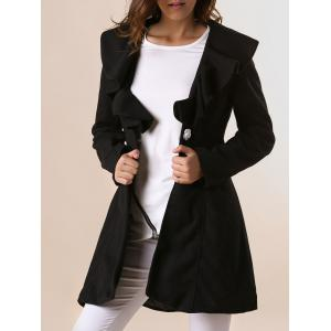 Long Sleeves Ruffles Lapel Beam Waist Long Sections Stylish Women's Trench Coat - Black - Xl
