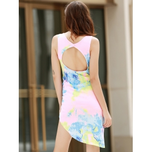 Alluring Plunging Neck Sleeveless Printed Asymmetrical Women's Dress -