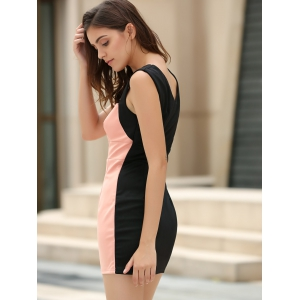 Straps Four Buttons Low-Cut Sleeveless Bodycon Dress -